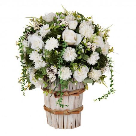 Arreglo floral grande con maceta Rosas Blanco