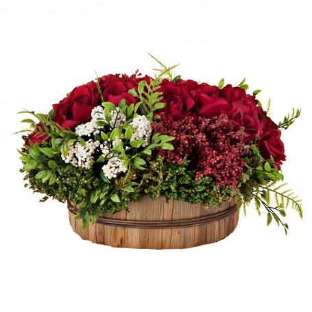 Arreglo floral con maceta Rosas Blanco / Rojo