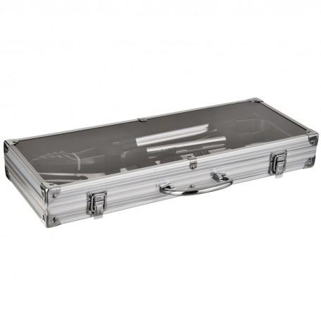 Juego de 3 utensilios para BBQ con caja metálica