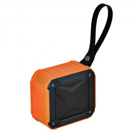 Parlante portátil Havit color negro y naranja