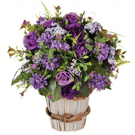 Arreglo floral con maceta Rosas Morado