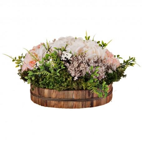 Arreglo floral con maceta Rosas Blanco / Rosa