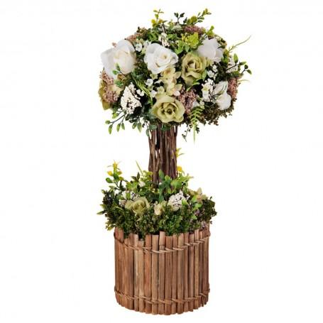 Arreglo floral con tallo y maceta de madera Rosas