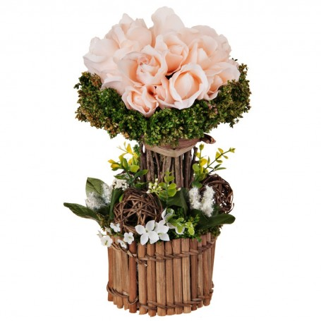 Arreglo floral con tallos y maceta Rosas Taxo