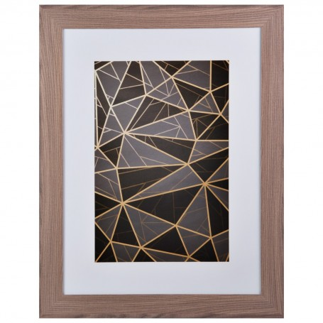 Cuadro con marco Geométrico Negro / Habano / Dorado