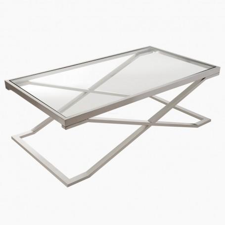 Mesa de centro rectangular Silver / Clear