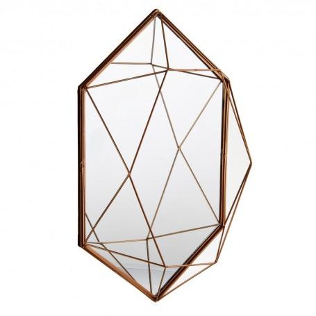Espejo Hexagonal Geométrico Dorado Haus