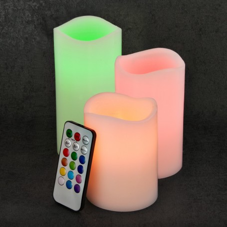 Juego de 3 velones LED con control remoto Luces de Colores Haus