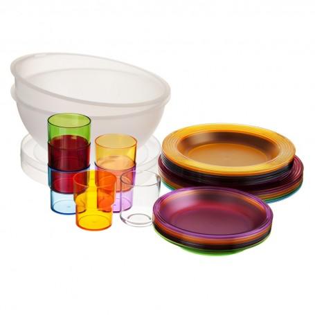 Caja con platos y vasos Fratelli Guzzini