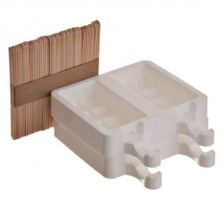 Molde de silicona para helado con palillos Blanco Silikomart