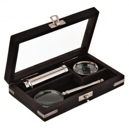 Lupa, telescopio y brújula con caja de madera