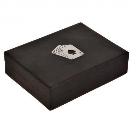 Naipes con caja de madera