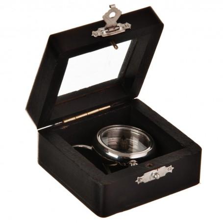Llavero Brújula Silver con caja de madera