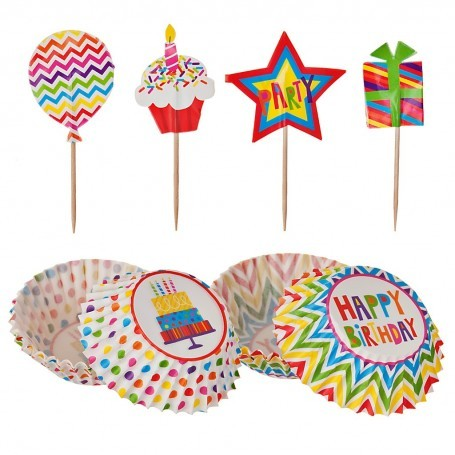 Juego de pirutines de papel con apliques Happy Birthday Patisse