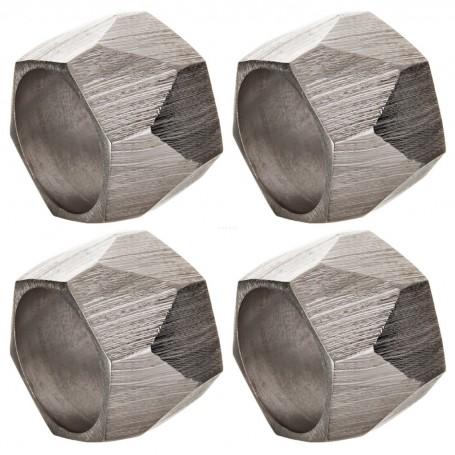 Juego de 4 aros para servilletas Geométrico Silver Haus
