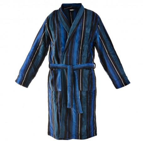 Bata de baño con bolsillos Rayas Negro / Azul Perfect Comfort