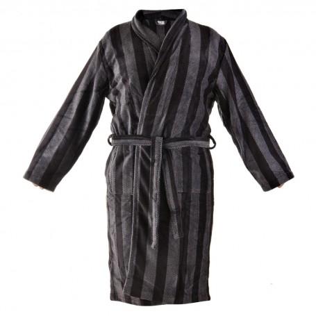 Bata de baño con bolsillos Rayas Negro / Gris Pure Comfort