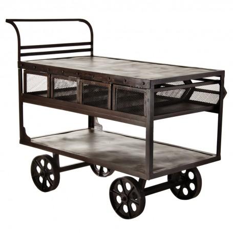 Mesa auxiliar con ruedas y gavetas Industrial Haus