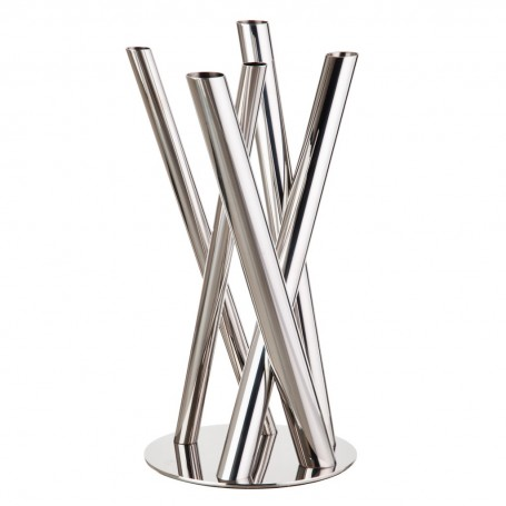Florero Tubular Silver 5 servicios Elleffe