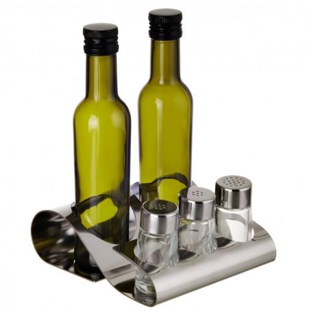 Aceitero / Vinagrero con especieros y base Elleffe