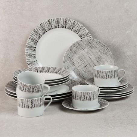 Vajilla de porcelana de 20 piezas para 4 puestos Rayas Gris Haus