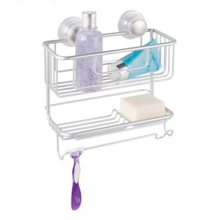 Organizador para ducha con ventosa 2 niveles Metro Silver Interdesign