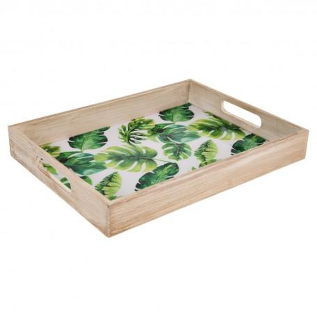 Bandeja de madera Flores Verde