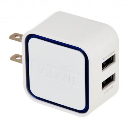 Cargador para pared con 2 puertos USB y cable micro USB PLM302N VIDVIE