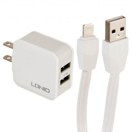 Cargador para pared con cable Lightning 2 USB / 2.4A A2201 LDNIO