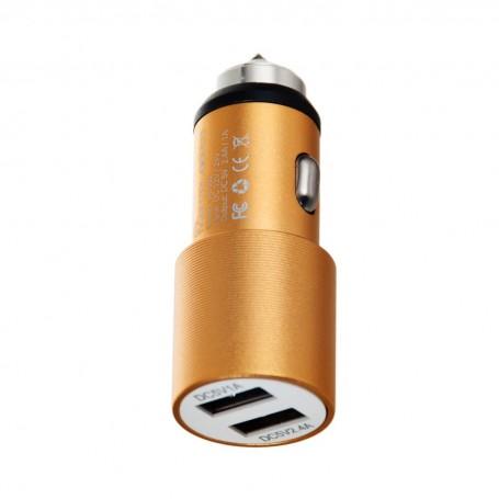 Cargador para auto 2.4Amp / 2 USB con punta rompe vidrios Mental Beats