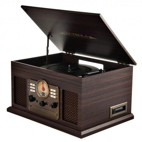 Tocadiscos Bluetooth / AUX / Cassette / CD / Radio FM Madera Espresso VTA-200B Victrola