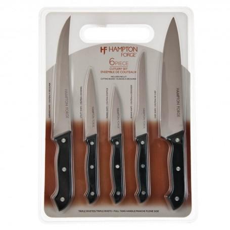Juego de 6 cuchillos y tabla de picar Windsor Hampton Forge