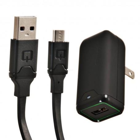 Cargador para pared con cable plano micro USB 1.67Amp Qmadix
