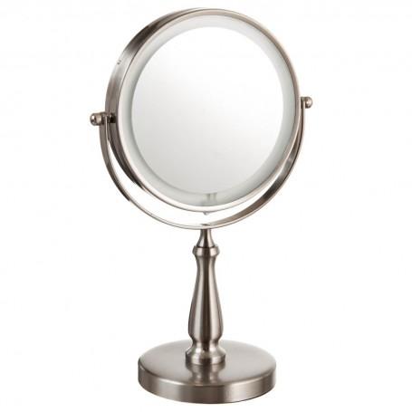 Espejo doble con luz LED, base y rotación de 360° 8X / 1X Zadro