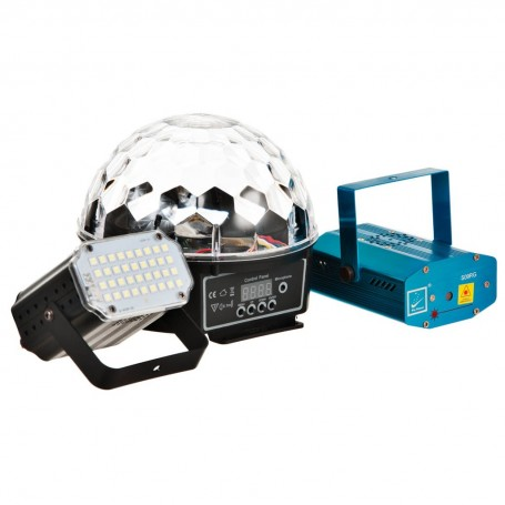 Juego de 3 luces para fiesta Magic Ball, Mini Flash y Mini Laser Sonic