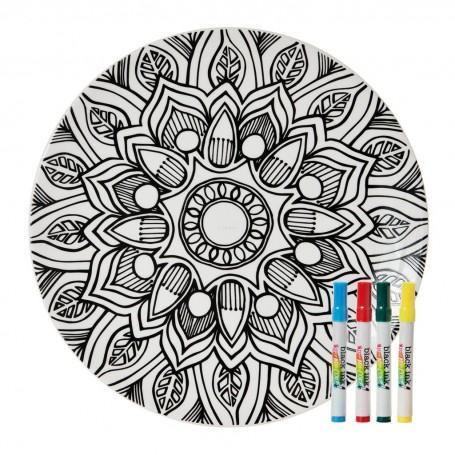 Plato decorativo para pintar con marcadores Mandala