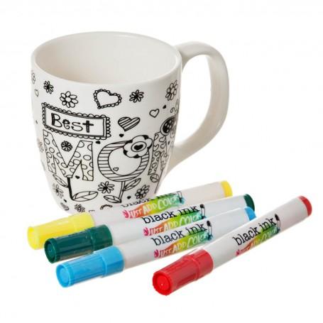 Taza para pintar con marcadores Mom