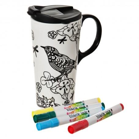 Jarro con tapa para pintar con marcadores Pájaro