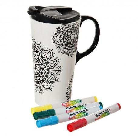 Jarro con tapa para pintar con marcadores Mandalas