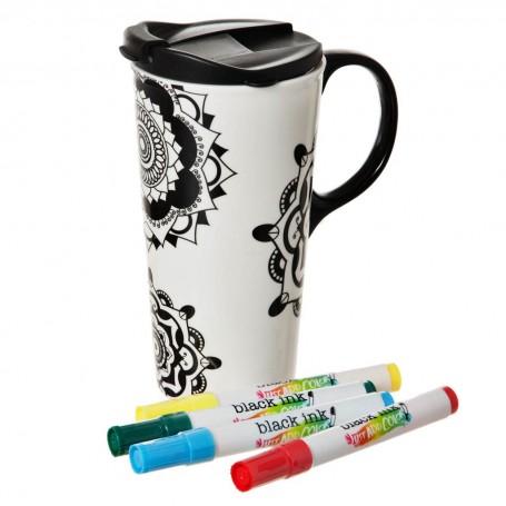 Jarro con tapa para pintar con marcadores Mandala