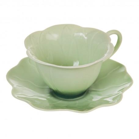 Juego de taza y plato para té Lotus Haus