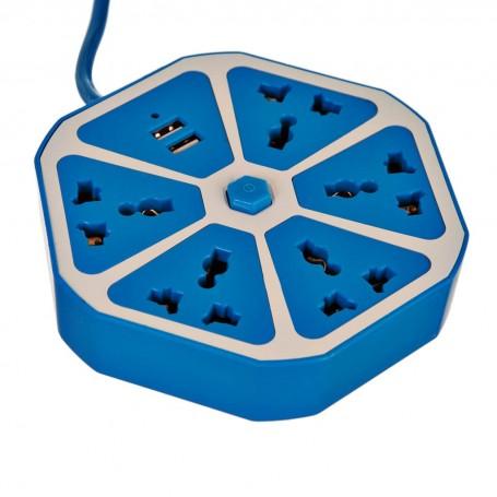Regleta con 5 conectores + 2 USB Surtido