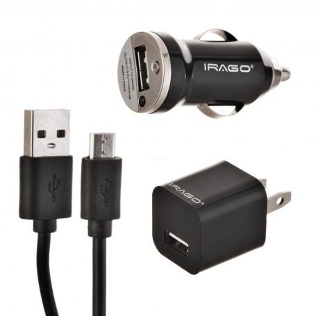 Cargador para pared / auto con cable micro USB Irago
