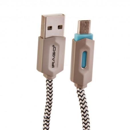Cable micro USB con recubrimiento de nylon y luz LED Irago