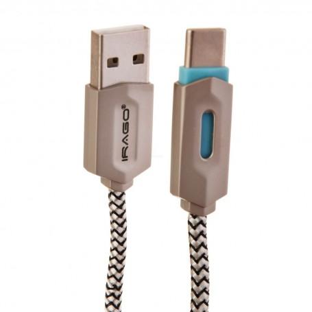Cable Tipo C con recubrimiento de nylon y luz LED Irago