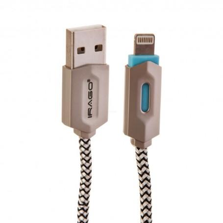 Cable Lightning con recubrimiento de nylon y luz LED Irago