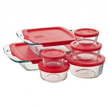 Juego de 14 piezas de moldes refractarios con tapas Bake N'Store Pyrex