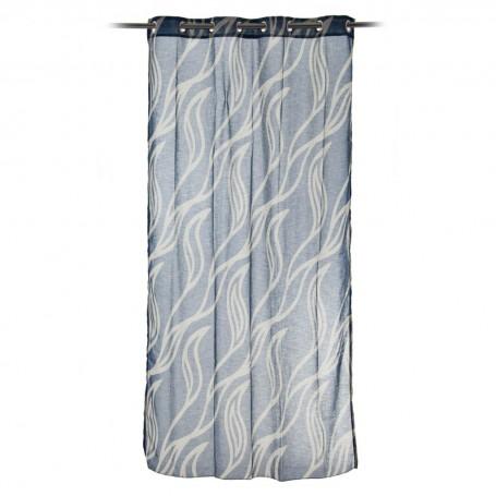 Cortina decorativa con ojales Blanco / Azul