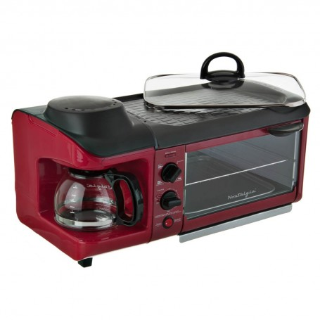 Horno tostador / plancha antiadherente con cafetera y timer Retro Nostalgia