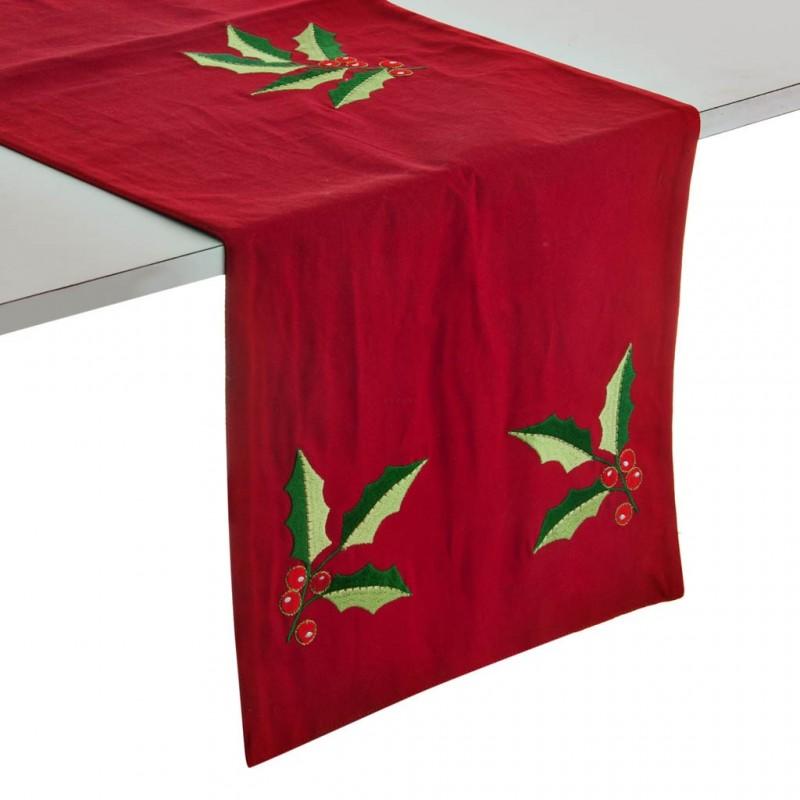 Camino de mesa Hojas Navidad Rojo / Verde Haus